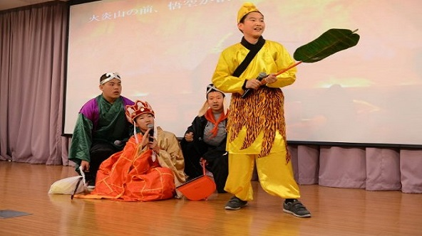 Excellent drama of Japanese short drama contest : [Fire Mountain] by Class 6, Junior 2.