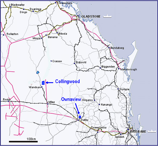 Map showing the location of the Collingwood and Ownaview deposits