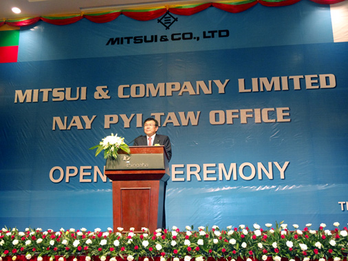 Mr.Iijima, President and CEO making a speech at the opening ceremony of Nay Pyi Taw Office.