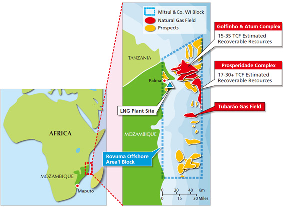 Map of the Rovuma Offshore Area 1 Block, Republic of Mozambique