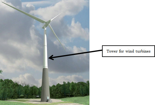 Images of a wind turbine, towers, and flanges