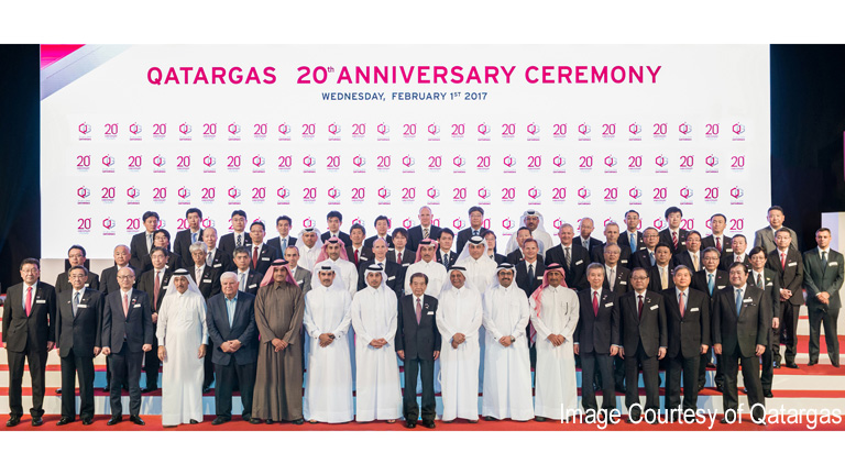 Qatari government officials, Japanese LNG buyers, shareholders, partners and others at the ceremony
