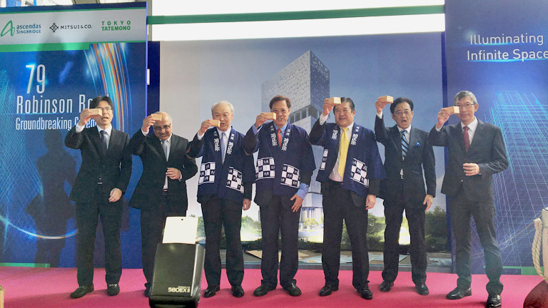 From third on left: Tokyo Tatemono Chairman Makio Tanehashi, Ascendas-Singbridge Group CEO Miguel Ko, Mitsui & Co. President and CEO Tatsuo Yasunaga and other related parties at the ground breaking ceremony