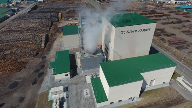 A view from above of the biomass power station in Tomakomai, Hokkaido
