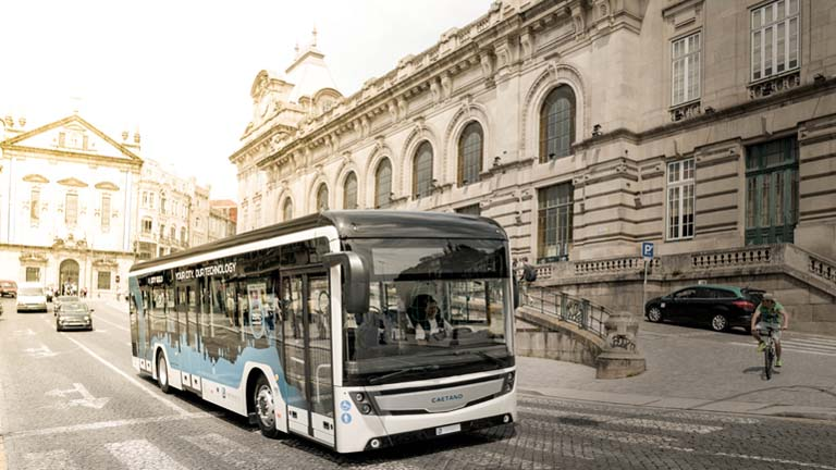 "Electric bus developed by CaeranoBus, ""e. City Gold"" being deployed in Portugal"