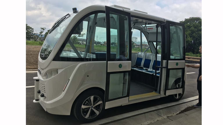 An autonomous shuttle bus manufactured by NAVYA