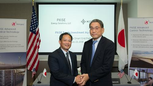 From left: Patrick Lee, President, PXiSE Ltd. CEO; Makoto Serino, GM of DT Business Development Div., Mitsui & Co., Ltd.
