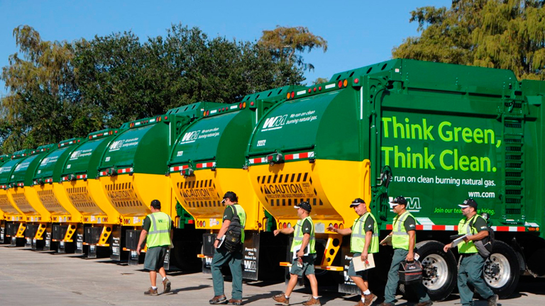 A refuse truck which runs on natural gas